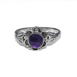 Natural Purple Amethyst 925 Sterling Silver Ring Women Jewelry Perfect Round Shape Ring For Gift