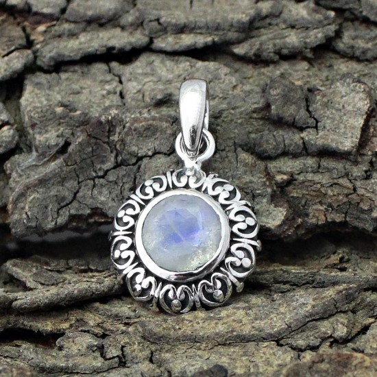 Colorado Winter !! Moonstone 925 Sterling Silver Handmade Pendant