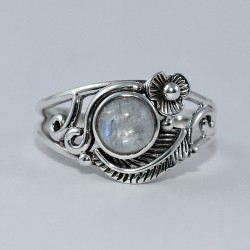 Natural Rainbow Moonstone Ring 925 Sterling Silver Boho Ring Fine Jewelry