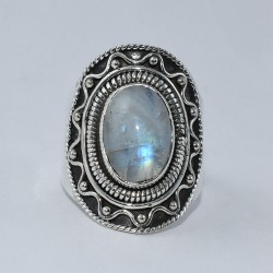 Natural Rainbow Moonstone Ring 925 Sterling Silver Oxidized Ring Handmade Jewelry