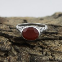 Circle Of Love !! Red Onyx 925 Sterling Silver Ring