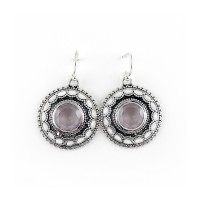 Natural Rose Quartz 925 Sterling Silver Earring Jewelry