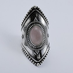 Natural Rose Quartz Ring 925 Sterling Silver Indian Silver Jewelry Gift For Her