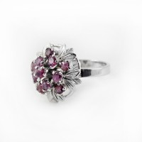 Natural Ruby 925 Sterling Silver Rhodium Plated Ring Jewelry Gift For Her