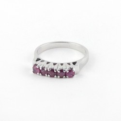 Natural Ruby 925 Sterling Silver Rhodium Plated Ring Women Fashion Jewelry