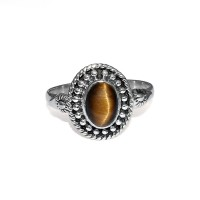 Attractive Ring !! Natural Tiger Eye 925 Sterling Silver Boho Ring Jewelry
