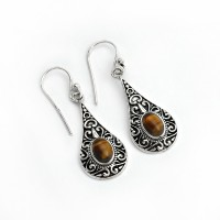 Passion !! Natural Tiger Eye 925 Sterling Silver Teardrop Earring