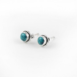Natural Turquoise 925 Sterling Silver Stud Earring Jewelry