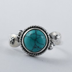 Natural Turquoise Ring 925 Sterling Silver Handmade Ring Birthstone Promises Ring Birthday Present Jewelry