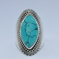 Natural Turquoise Ring Handmade 925 Sterling Silver Ring Jewelry Exporter