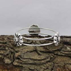 Natural White CZ 925 Sterling Silver Bangle Jewelry