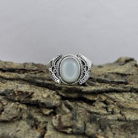 Admirable Oval Shape White Moonstone 925 Sterling Silver Ring
