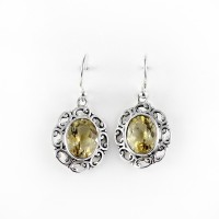 Natural Yellow Citrine 925 Sterling Silver Earring Jewelry