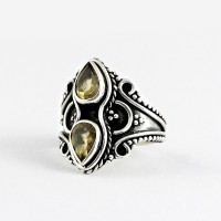 Natural Yellow Citrine Handmade 925 Sterling Silver Ring Oxidized Silver Jewellery