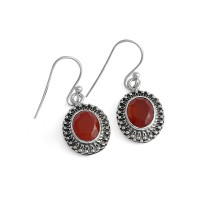 Bohemian Style Orange Carnelian 925 Sterling Silver Earring Jewelry