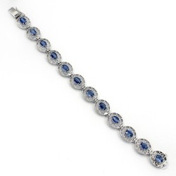 Blue Kyanite Gemstone Oval Shape 925 Sterling Silver Handmade Bracelet