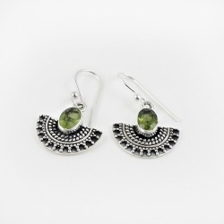 925 Sterling Silver Jewelry !! Green Color Peridot Gemstone Silver Jewelry Earring