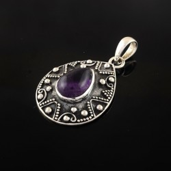 Artisan Crafted !! Oxidized Amethyst Pendant 925 Sterling Silver Vintage Stylish Pendant Jewelry