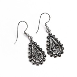 Oxidized Drop Dangle Earring 925 Sterling Silver Handmade Jewelry Gift For Her