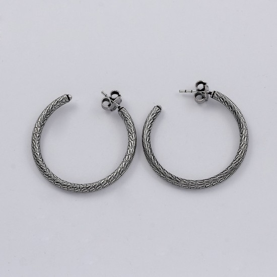 Oxidized Hoop Earring 925 Sterling Silver Handmade Fine Jewelry Gift Anniversary For Her