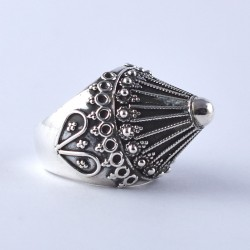 Oxidized Silver Jewellery 925 Sterling Plain Silver Ring HUT Shape Ring Jewellery