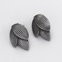 Oxidized Stud Earring 925 Sterling Silver Handmade Ethnic Design Jewelry Gift For Her