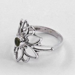Peridot Ring Flower Shape Solid 925 Sterling Silver Women Handcrafted Silver Ring Jewellery For Her