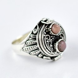 Pink Opal Ring Poison Ring Oxidized Silver Jewellery Solid 925 Sterling Silver Handmade Silver Jewellery Gift For Her