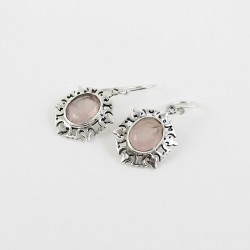 Pink Rose Quartz Oval 925 Sterling Silver Earring Jewelry