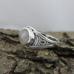 Created Pink Rose Quartz 925 Sterling Silver Fine Ring Jewelry