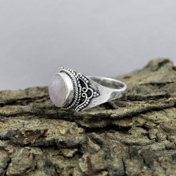 Pink Rose Quartz 925 Sterling Silver Ring Jewelry