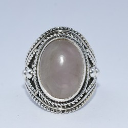 Pink Rose Quartz Ring Handmade 925 Sterling Silver Birthstone Jewelry Gift For Her