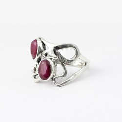 Pink Dyed Ruby Oval Shape 925 Sterling Silver Ring Handcrafted Silver Jewellery