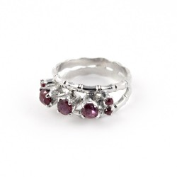 Pink Ruby Rhodium Plated 925 Sterling Silver Friendship Ring Jewelry