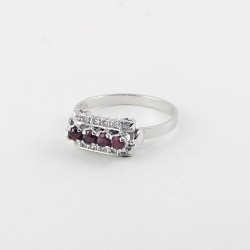 Pink Ruby Rhodium Plated Ring 925 Sterling Silver Handmade Jewelry