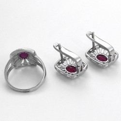 Pink Ruby Ring Earring Jewelry Set Rhodium Polished Silver Jewelry Set 925 Sterling Silver Handmade Jewelry
