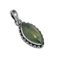 Artisan Crafted !! Prehnite Marquise Shape 925 Sterling Silver Pendant Jewelry