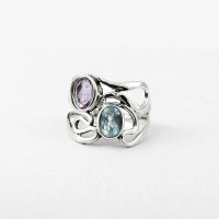 Pretty Amethyst Blue Topaz 925 Solid Sterling Silver Ring Promises Ring Wedding Band Jewelry