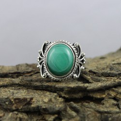 925 Sterling Silver !!Natural Green Malachite Ring Jewelry