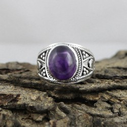 Natural Purple Amethyst 925 Silver Ring Gemstone Silver Jewelry