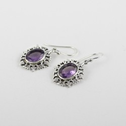Amazing Silver !! Oval Shape Purple Color Amethyst Gemstone Silver Earring