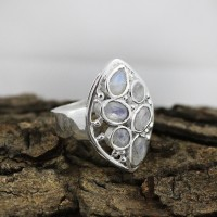 Oval Pear Shape White Rainbow Moonstone 925 Sterling Silver Ring