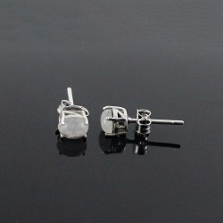 Rainbow Moonstone Earring Rhodium Plated 925 Sterling Silver Jewelry