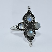 Rainbow Moonstone Ring 925 Sterling Silver Boho Ring Engagement Ring Christmas Gift Jewelry