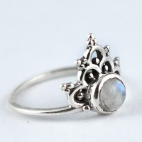 Rainbow Moonstone Ring Handmade 925 Sterling Silver Boho Ring Oxidized Silver Jewellery