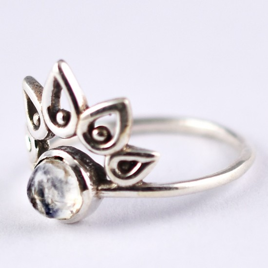 Rainbow Moonstone Ring Handmade Solid 925 Sterling Silver Boho Ring Women Jewellery Indian Silver Jewellery