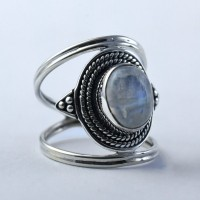 Rainbow Moonstone Ring Oval Shape Handmade 925 Solid Sterling Silver Oxidized Silver Jewellery
