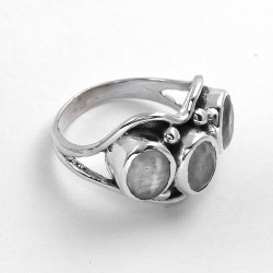 Rainbow Moonstone Ring Oxidized Silver Jewellery 925 Sterling Silver Ring 925 Stamped Jewellery