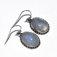 Rare Stylish White Rainbow Moonstone Drop Earring 925 Sterling Silver Oxidized Earring Jewellery Gift For Her