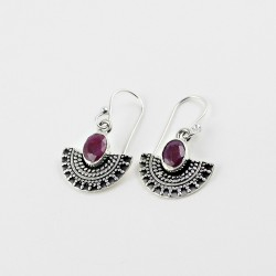 Red Corundum 925 Sterling Silver Handmade Earring Jewelry Gift For Her
